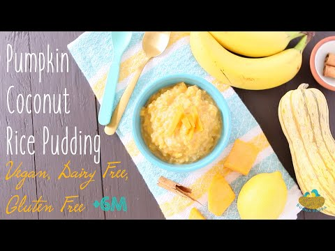 Pumpkin Coconut Rice Pudding baby food recipe +6M Vegan Dairy Free Gluten Free