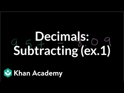 Subtracting Decimals: Example 1 | Decimals | Pre-Algebra | Khan Academy