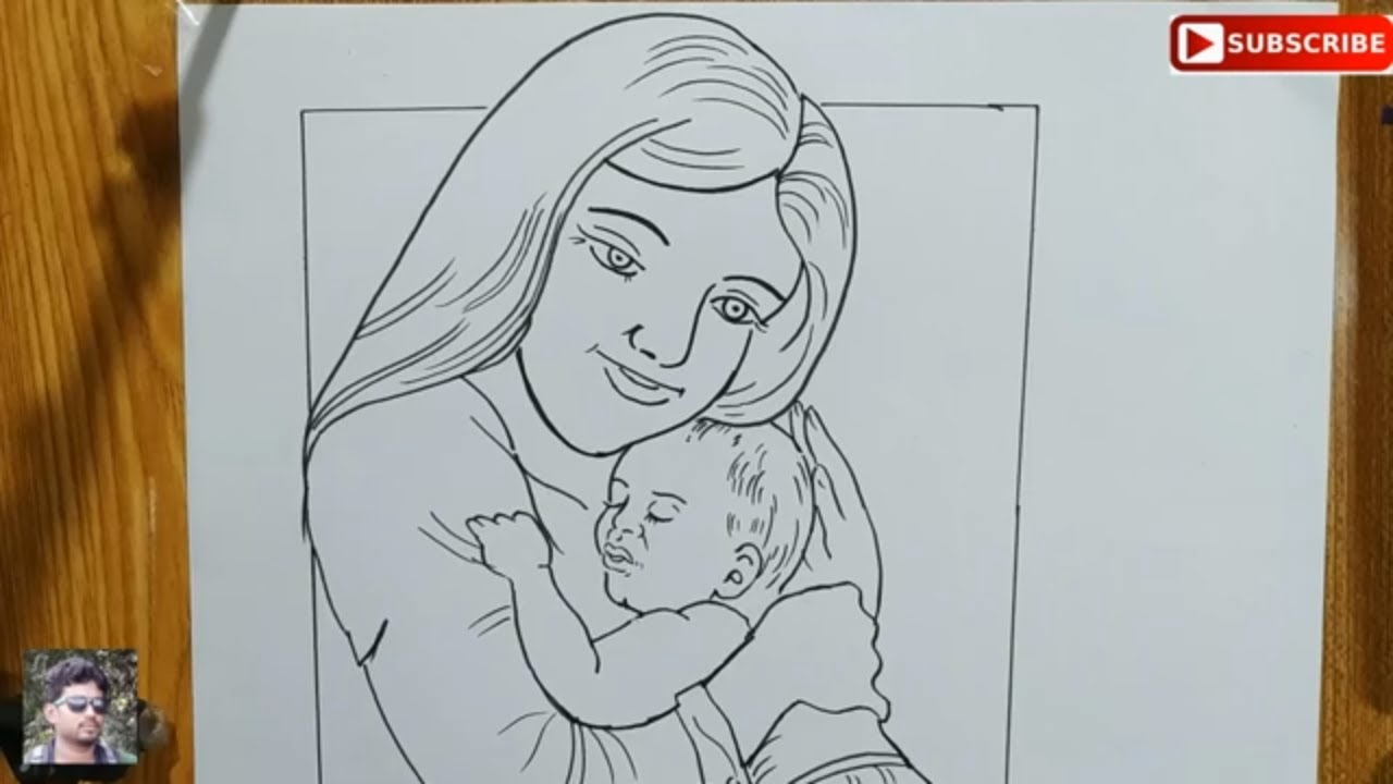 How To Draw Mother And Baby Easy Line Art Step By Step Easy Line Drawing Mother And Baby Youtube