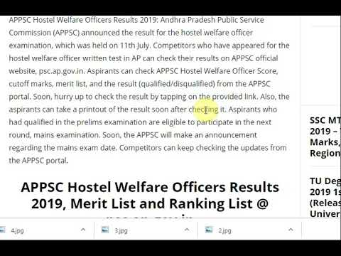 APPSC Hostel Welfare Officers Results 2019, Merit List and Ranking List ...