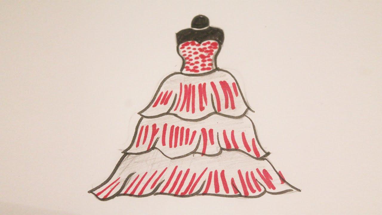 Como dibujar un vestido de princesa - YouTube