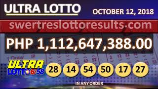 LOTTO RESULTS OCTOBER 12 2018 9PM - 6/58 result w/ jackpot of 1.112Billion