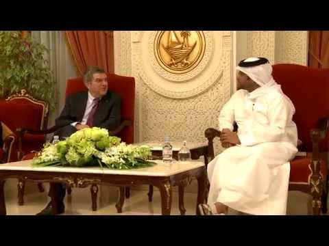 International Olympic Committee President arrives in Doha.