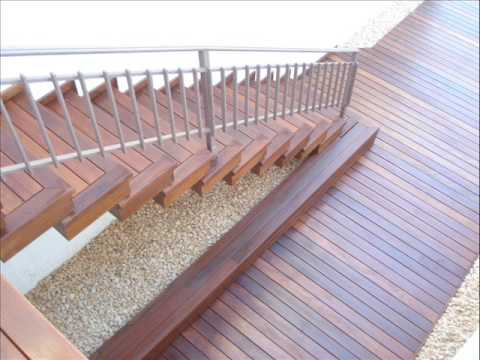 Escaleras exteriores de madera youtube for Escalera de jardin de madera