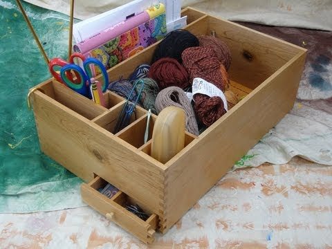 Knitting box...and how to make easy finger joints. Woodworking joint jig.