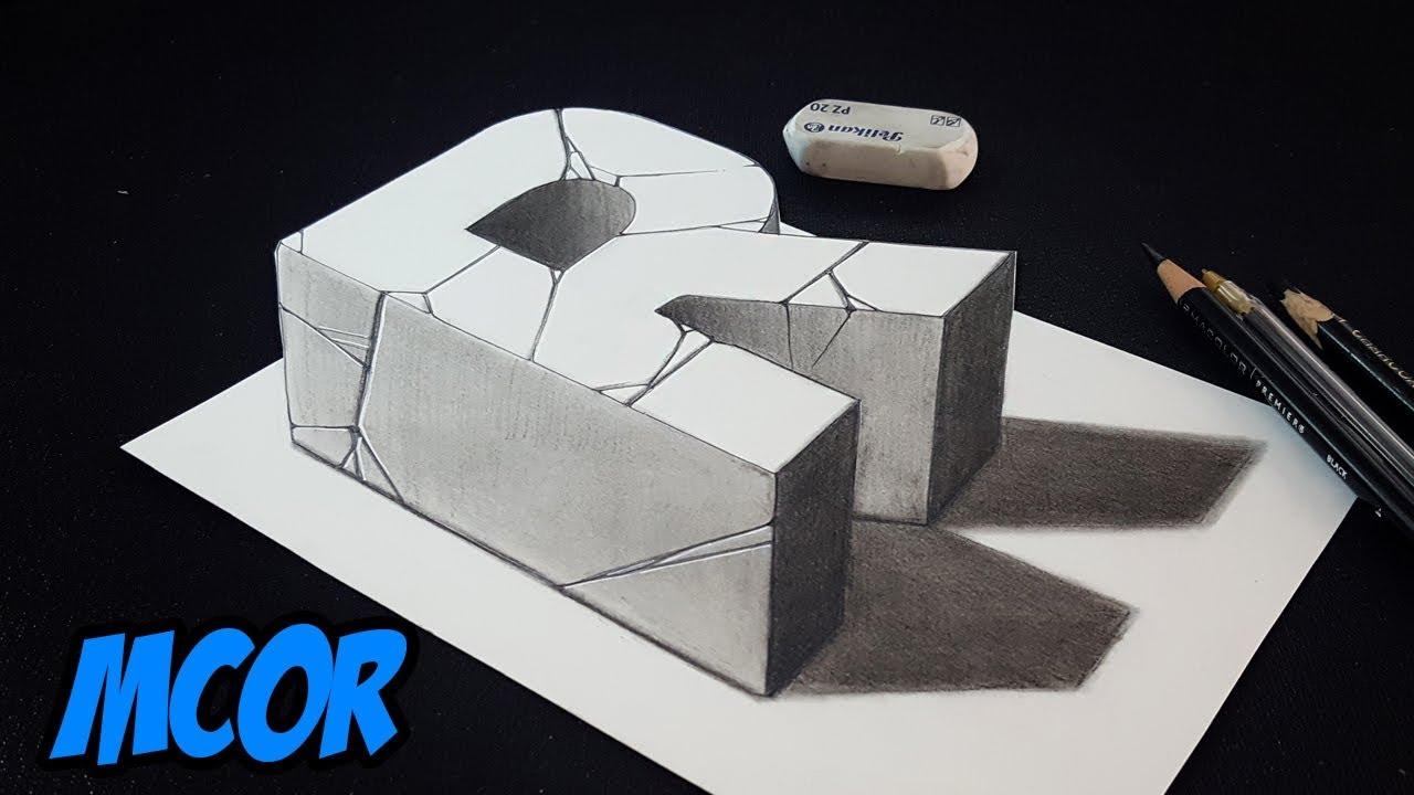 Como dibujar la letra r en 3d arte 3d facil sobre papel - Papel para dibujar ...