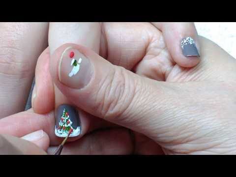 Christmas Tree Nail Art For beginners on Short Nails