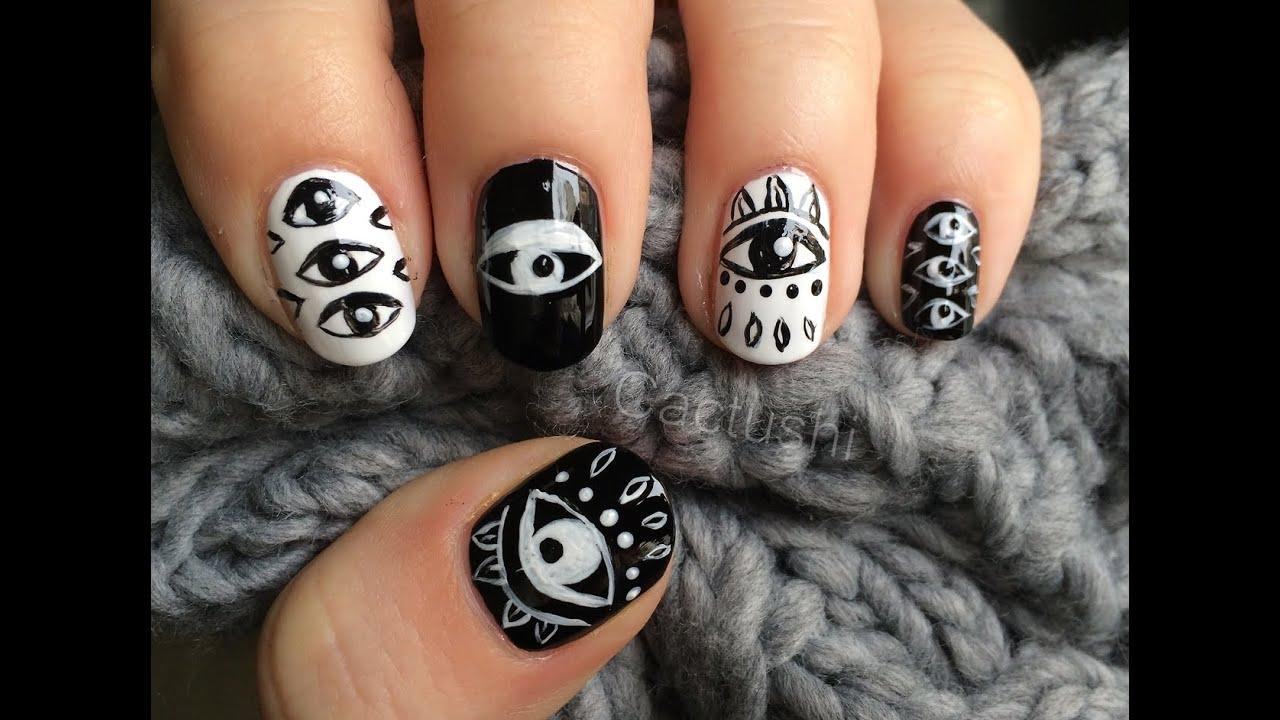 Black And White Eyes Nail Art Boho Nails Cactushi Youtube