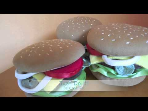 Soft Sculpture Hamburger Pin Cushions Youtube - Hamburger-scatter-cushions