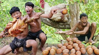 Primitive Technology - See Big Chicken Egg & Cooking - Eating Delicious
