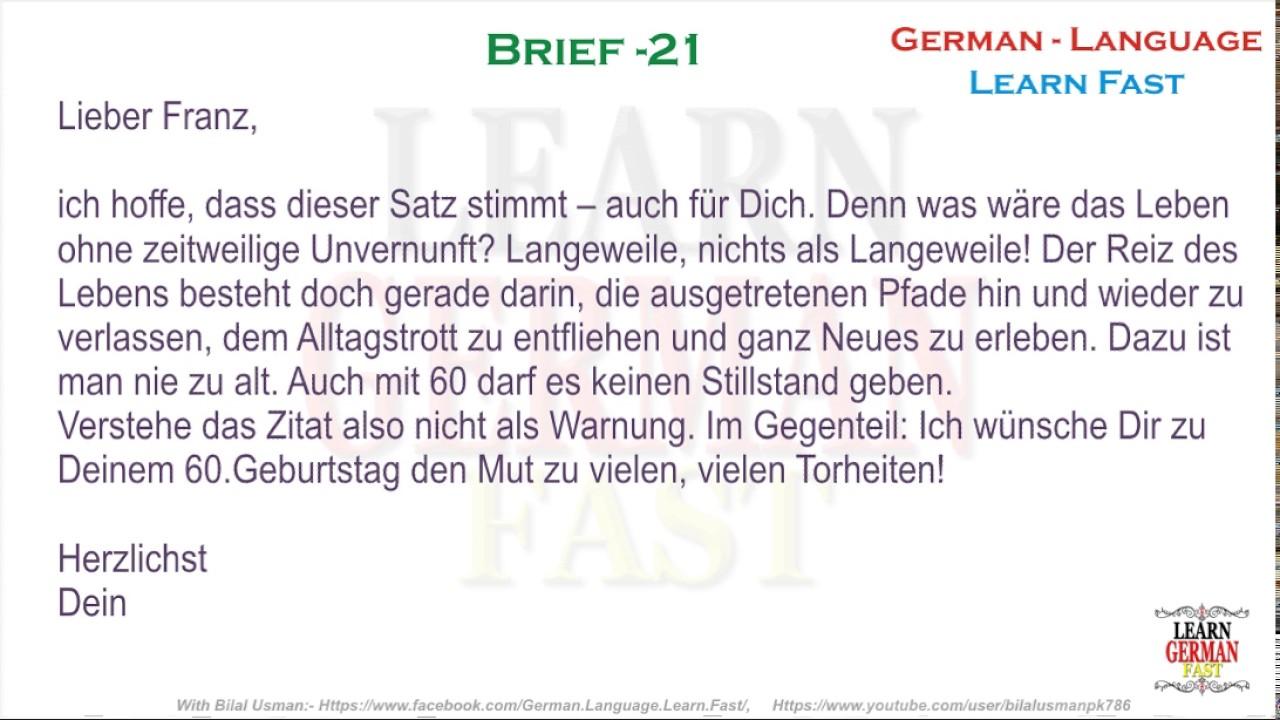 German Brief 21 A1 A2 B1 B2 C1 C2 Youtube