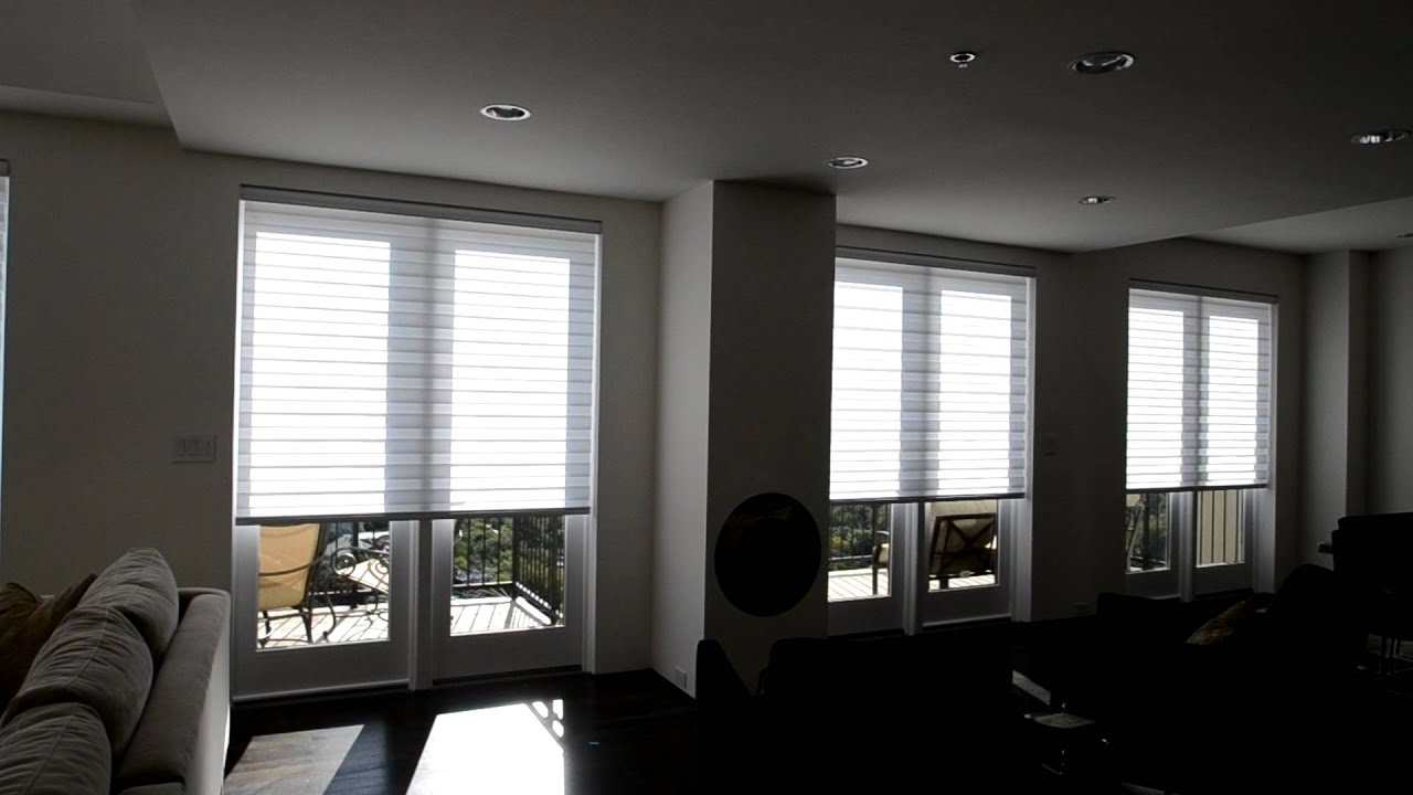 Motorized illusions transitional shades from budget blinds for Budget blinds motorized shades