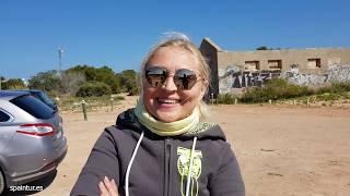Поездка на велосипедах на гору в Santa Pola, Alicante, виды с горы, бункер, природа, красота