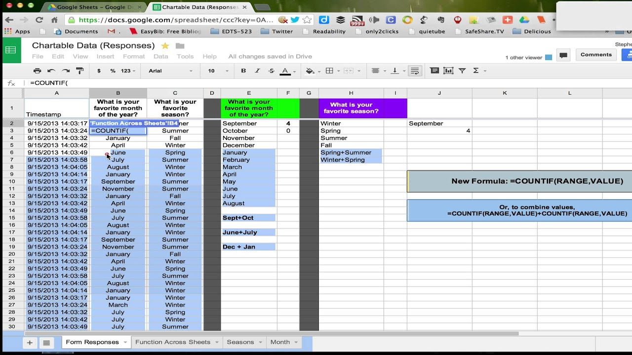 Using The Countif Function Across Sheets In A Workbook