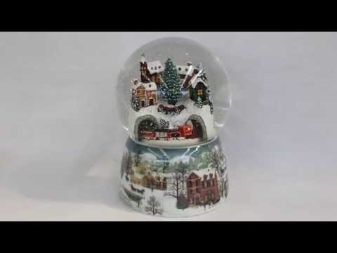 Musical Winter Village Snow Globe with Moving Train
