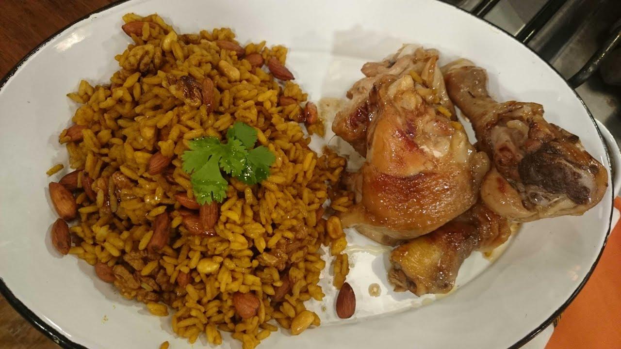 Pollo al horno con arroz con frutos secos