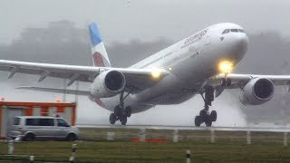 Storm Benjamin - rainy crosswind landings and take-offs - A380, A340, A330, B767 Sturmtief Benjamin