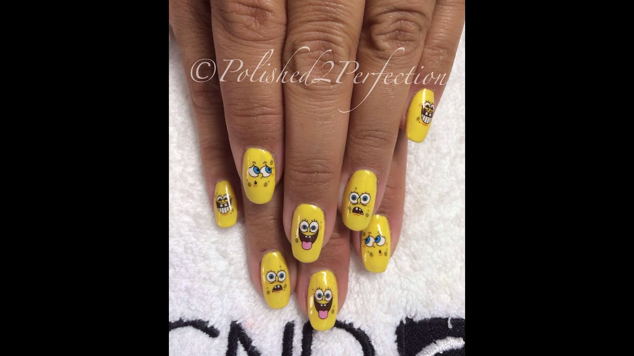 Spongebob Cnd Shellac Nails With Water Decals Youtube