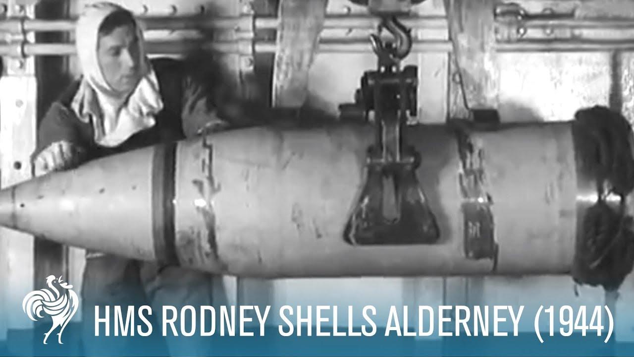 HMS Rodney Shells Alderney (1944)