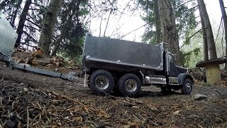 JRP RC - King Hauler Dump Truck And Pup Trailer Hauling Up The Hill 1