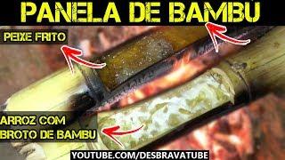 PANELA DE BAMBU - Arroz com broto de bambu e peixe frito