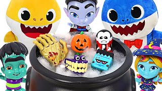 Halloween party with Pinkfong,Baby Shark~! Pumpkin basket full of Halloween Ghosts & Candy