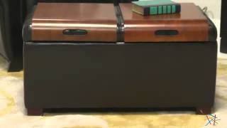 Livingston Storage Ottoman With Tray Tables - Brown - Product Review Video