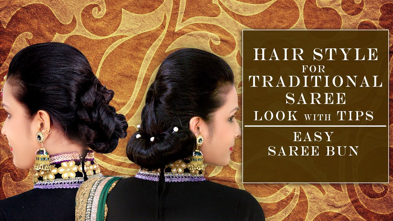 Different hairstyles to try with sarees - Hair Style For Traditional Saree Look With Tips Easy Saree Bun Khoobsurati Studio Youtube