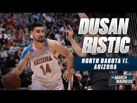 Arizona's Dusan Ristic scores 12 points vs. South Dakota St.