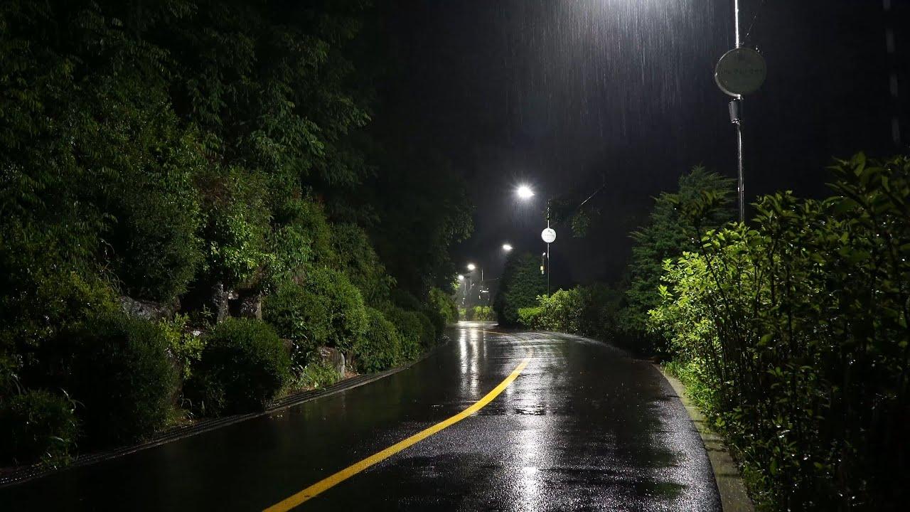한밤중에 공원 산책길 숲에 내리는 폭우 빗소리, 그리운 사람이 생각나는 양평읍 갈산공원