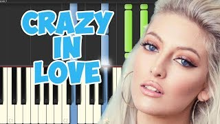 Crazy in Love-Sofia Karlberg (Piano Tutorial Synthesia)