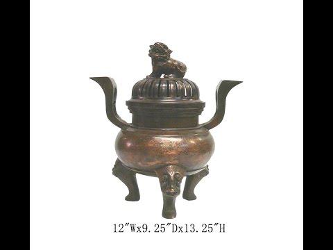 Unique Chinese Antique Copper Foo Dog Gold Painting Design Incense Burner WK2506