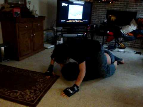 Two brothers try ufc fighting in living room a good long for Brother v brother living room