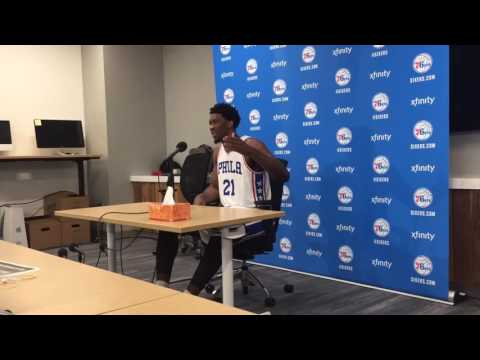Joel Embiid at Sixers media day