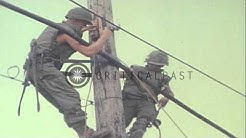 Soldiers of the 40th Signal Battalion repair downed cables and telephone lines ou.HD Stock Footage