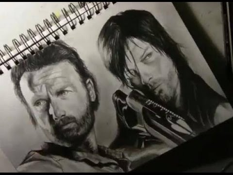 Age 14 The Walking Dead Speed Drawing Rick Daryl Youtube