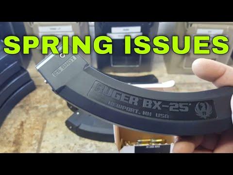 BX25 Ruger Damaged Spring, Magazine Stored Full.