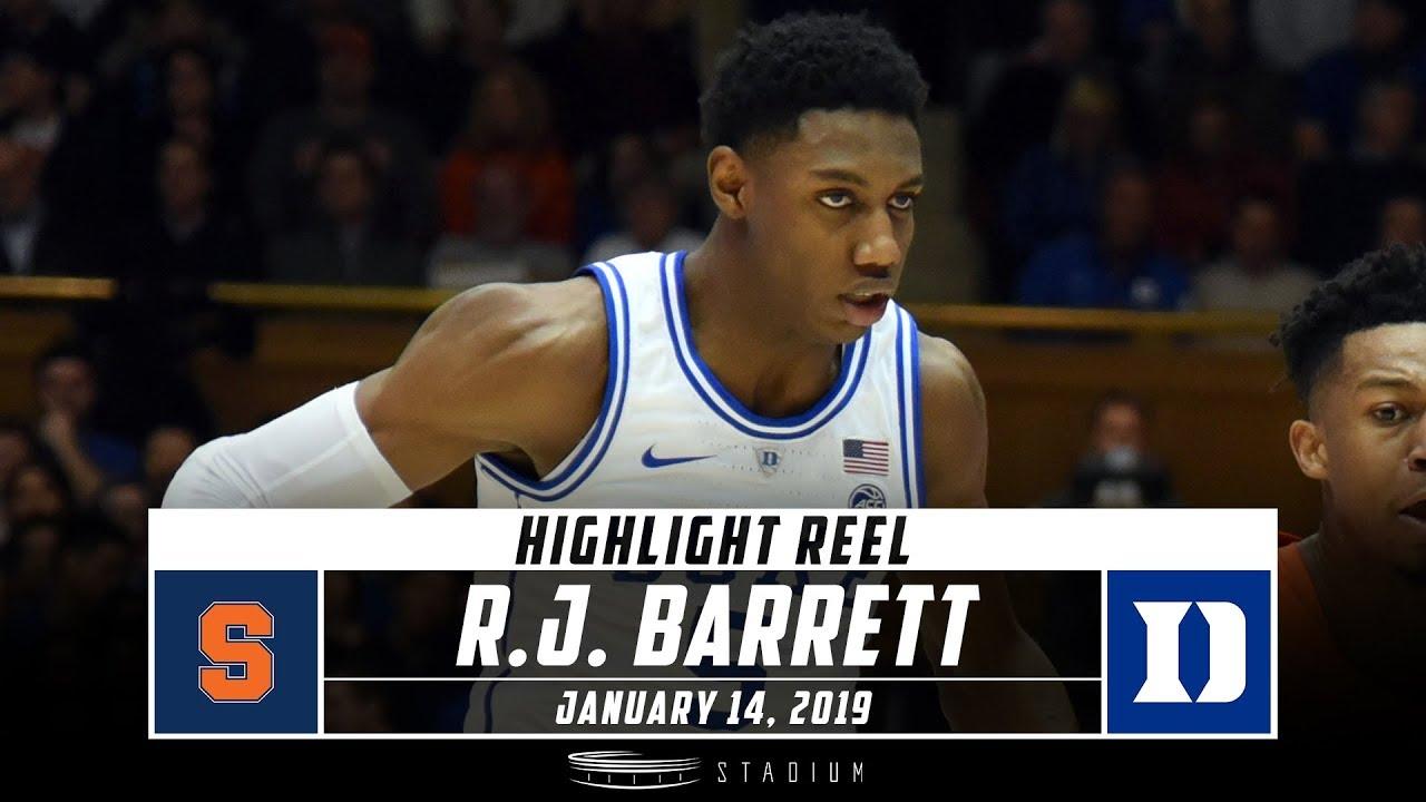 R J Barrett Highlights Syracuse Duke 2019 Stadium Youtube