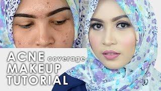 cara makeup menutupi jerawat acne coverage drugstore makeup tutorial