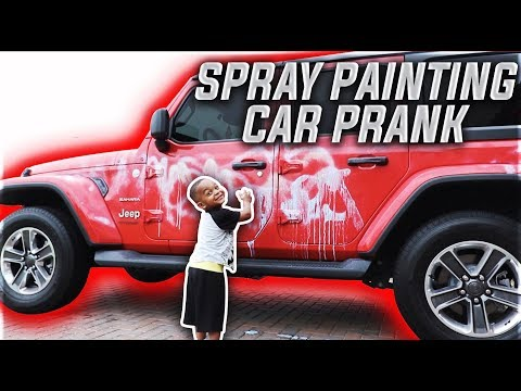 DJ SPRAY PAINTING MOMMY'S CAR PRANK!!