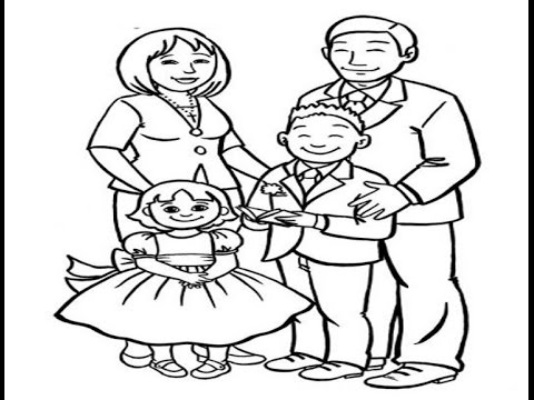 How to draw a Happy Family - Easy Drawing Lesson for Kids ...