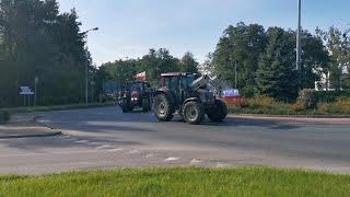 Protest rolników na ul. Warszawskiej i rondzie im. ks. Siemowita III w Ostrołęce