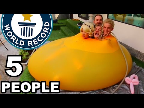 WORLD RECORD!! 5 PEOPLE IN GIANT 6ft WATER BALLOON!! (Ft. ChickyPie)