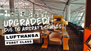 first class due to aircraft change    lufthansa first    b747 8 from icn to fra silverkris lounge
