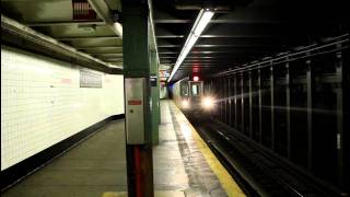 IRT Subway: Utica Ave Bound R142 (2) (4) and New Lots Bound R62 (3) train at Nostrand Avenue