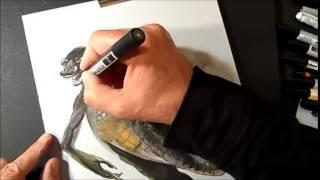 3D Drawing Godzilla, Trick Art, Time Lapse 480p
