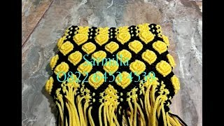 Tutorial alas tas tali kur motif yellow rose
