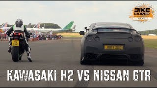 Kawasaki H2 vs Nissan GTR Bike vs Car Drag Race thumbnail