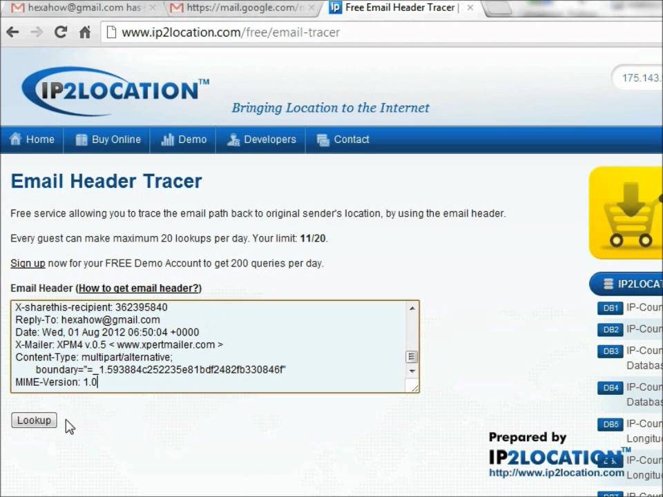 How to trace sender from Gmail email header - YouTube