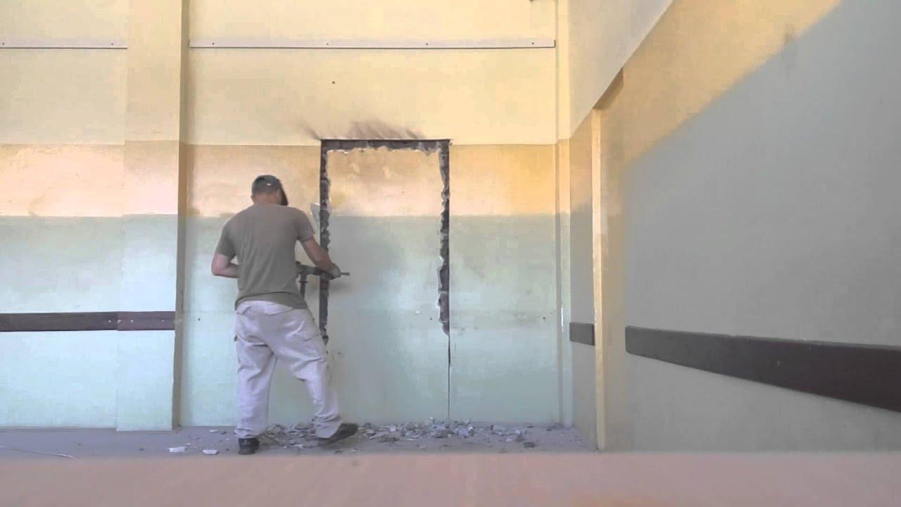 Cutting Down Concrete Block Wall Youtube